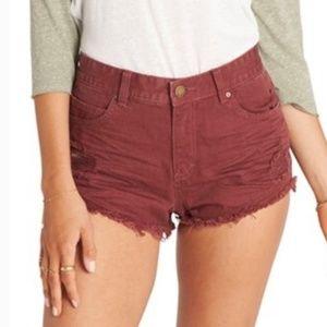 Billabong High Rise Distressed Denim Shorts